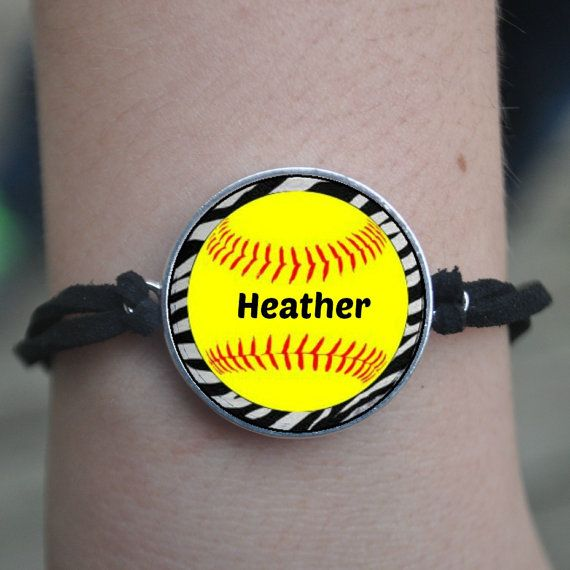 1 Personalized Zebra Softball Faux Suede by FlipflopBottlecaps, $5.45