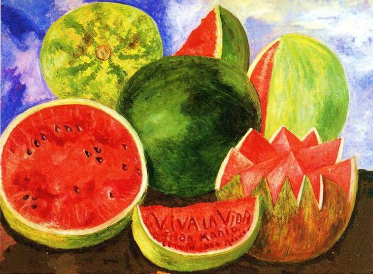 Фрида Кало  Эту картину она написала за восемь дней до смерти. Viva la vida – «Да здравствует жизнь». Солнечный арбуз рисовала уже лежа, с ампутированной ногой, приписав напоследок: «Я весело жду ухода и надеюсь никогда не возвращаться. Фрида» 13 июля 1954 года ее не стало.