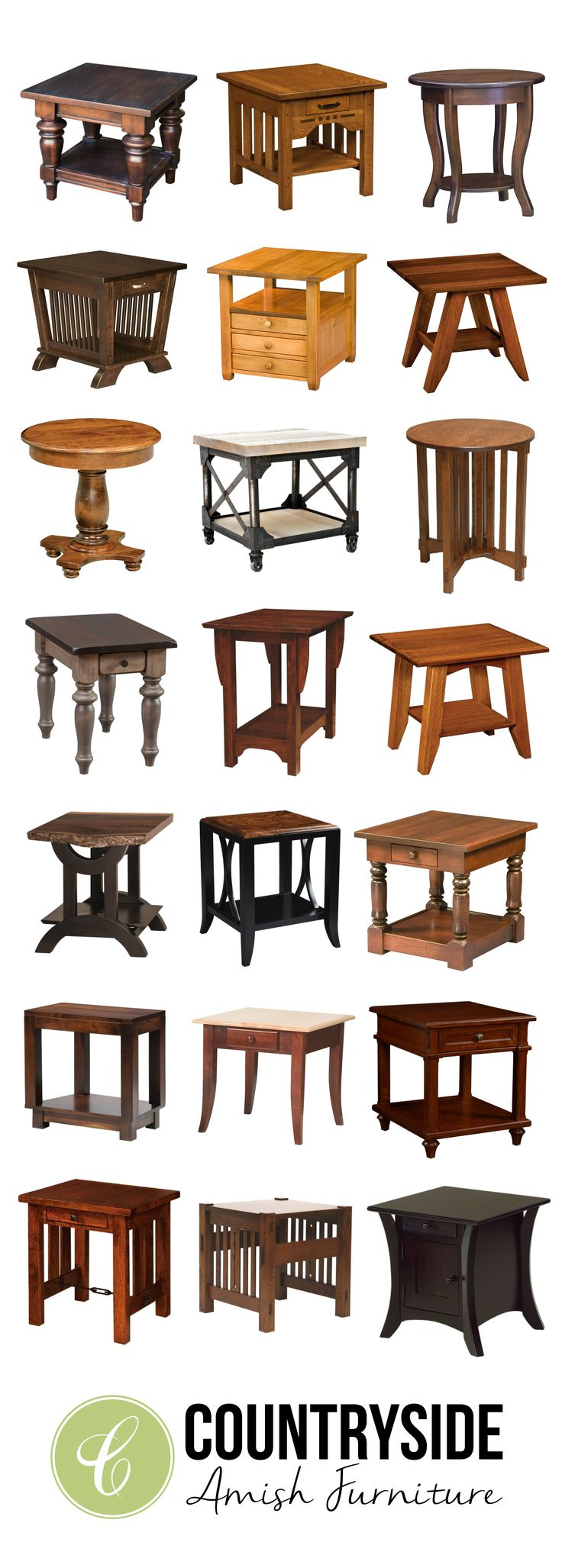 Traditional, Contemporary, or Craftsman, we have a solid wood end table for every home | Countryside Amish Furniture