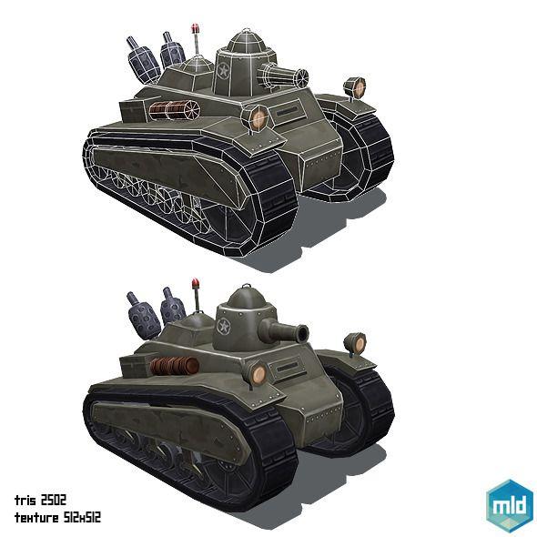 Low Poly Cartoon Old Tank