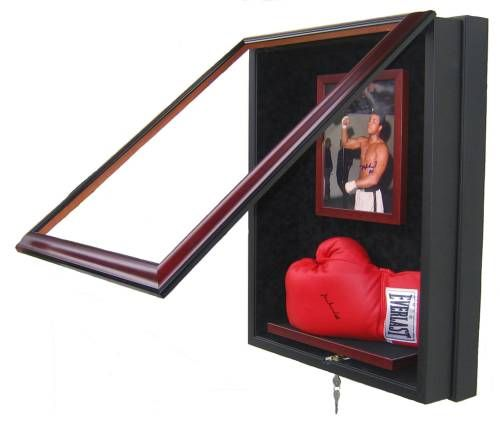 If you've got valuable sports memorabilia like this photo and glove signed by Mohammed Ali, enjoy and protect it at the same time in a beautiful, custom made sports memorabilia display case. Great gift idea for Dad this Father's Day!