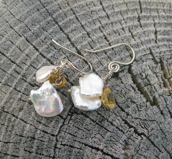 Keishi Pearl and faceted Citrine Handforged Sterling Silver #Earrings - by BijouxPdE  #HandmadeJewerly