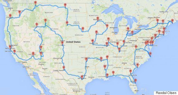 One Guy Figured Out How To Plan The Best Road Trip Ever: Staedter picked out the list of stops for the trip and Olson mapped out everything in just a few minutes with the algorithm he created. The criteria for the trip were simple: stop in all 48 states in the contiguous U.S.; only make stops at nationally-recognized sites; only drive to said landmarks.