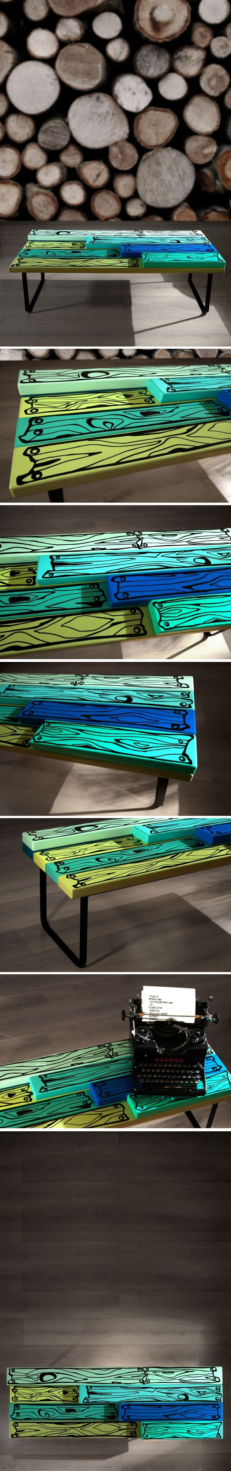 """M.M Table"" is a creative piece of furniture that portrays a beautiful splash of color, which explores the relationships between crafting and technology. The top is painted with acrylic colors in different shades of green and azure.  ""M&M Table"" este o masuta de cafea cu un design unic ce exploreaza relatia dintre arta si tehnologie. Blatul este pictat manual in culori acrilice,nuante de verde si albastru."