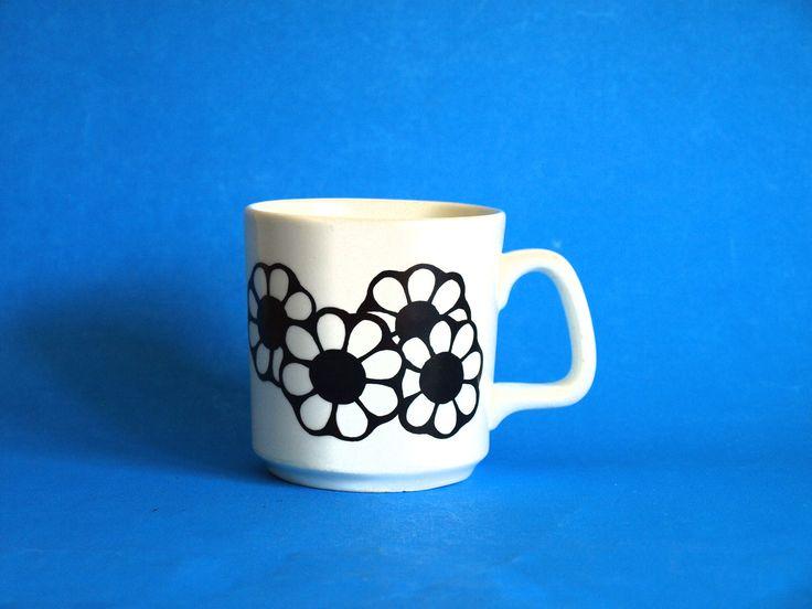Black Daisy Flower Power Mug - Vintage Retro Johnson of Australia Floral Motif Coffee Cup - Made in Australia Rare! by FunkyKoala on Etsy