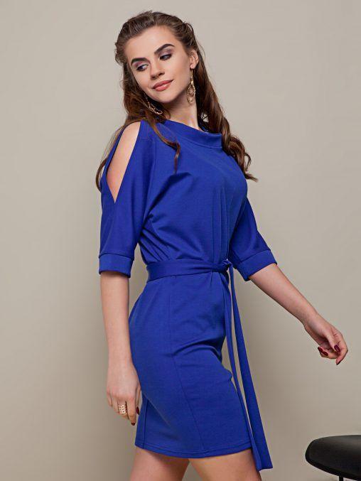 Sukienka z rozcięciem na rękawach niebieska fashion4u.pl