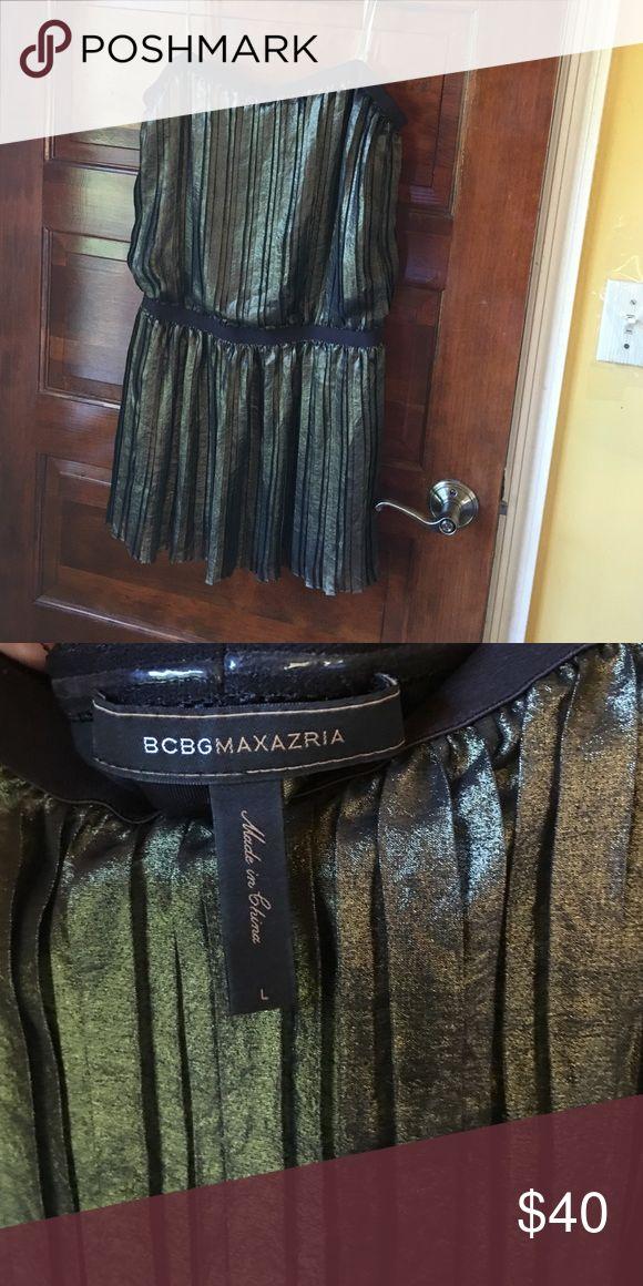 BCBG metallic short dress Strapless and very short pleated mini dress. Worn once in Las Vegas. Extremely short! BCBGMaxAzria Dresses Mini