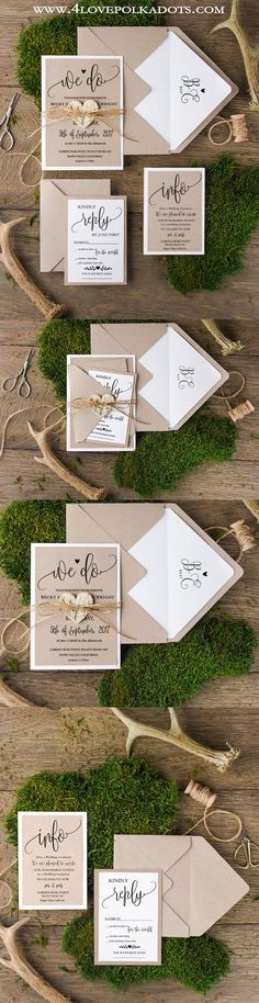 Rustic Wedding Invitations || @4lovepolkadots