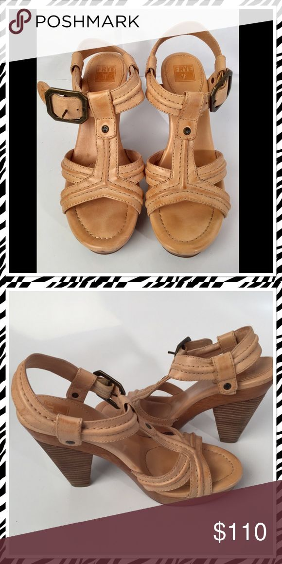 NEW FRYE Camel Heel Sandal, sz 8.5 NEW FRYE Camel Heel Sandal, sz 8.5. Amazing shoes!! Wood heals and pure camel color leather with buckle ankle closure. Frye Shoes Sandals