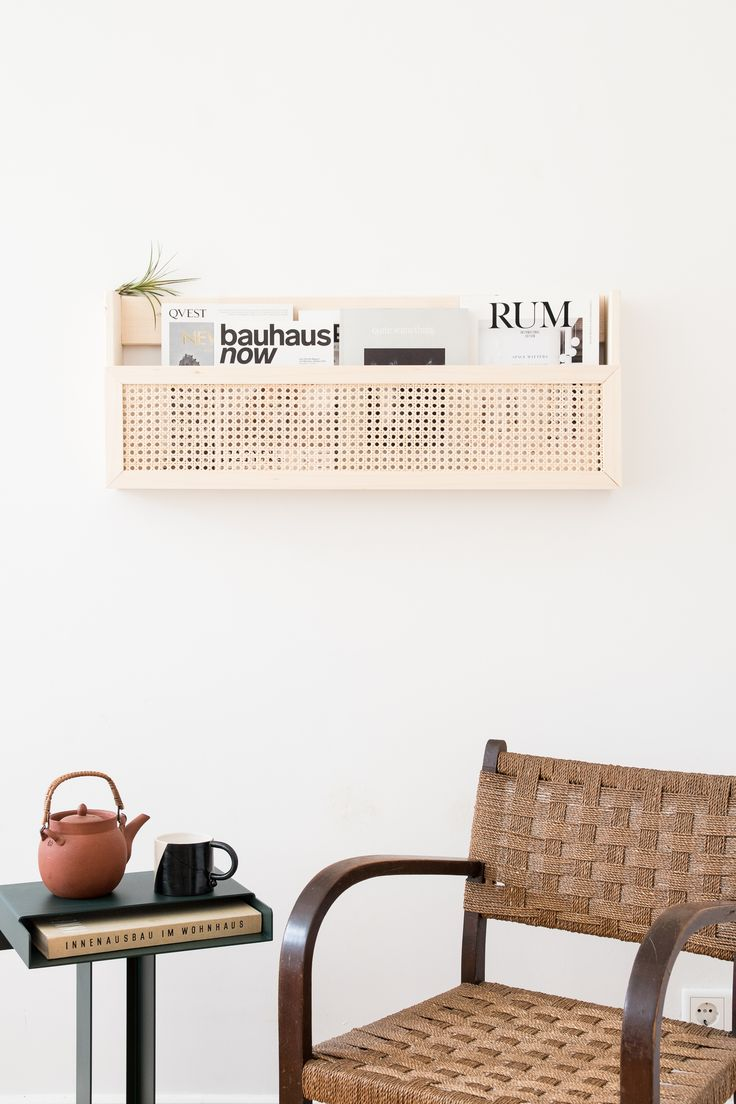DIY magazine holder made of wood with Viennese weave