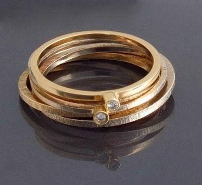 BIZOE komplet 3 złotych pierścionków