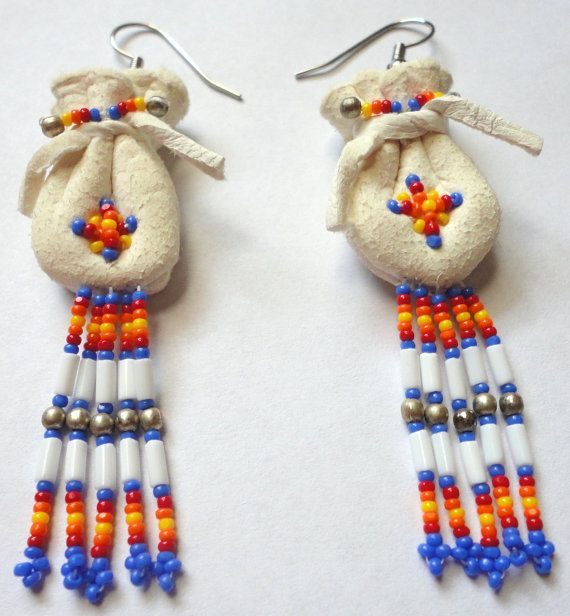 Native American Buckskin Beaded Purse Earrings on Etsy, $21.32 CAD