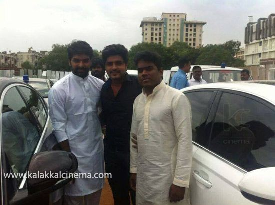 #Yuvan and Jai at Eid Prayer Stills - http://www.kalakkalcinema.com/tamil_events_list.php?id=7246&title=Yuvan_and_Jai_at_Eid_Prayer_Stills
