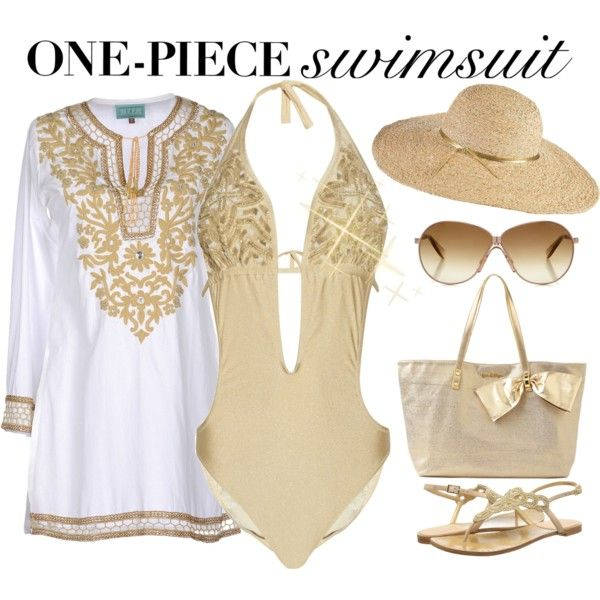 Gold One-Piece Swimsuit, created by maggie478 on Polyvore