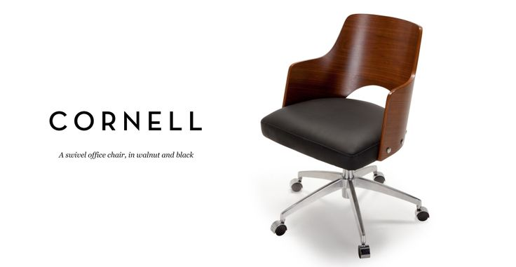 Cornell Swivel Office Chair in walnut and black   made.com