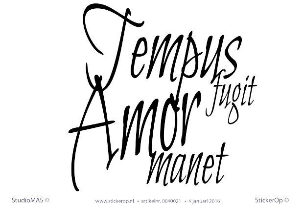 Muursticker tekst liefde - Tempus fugit Amor manet - De tijd vliegt, de liefde…