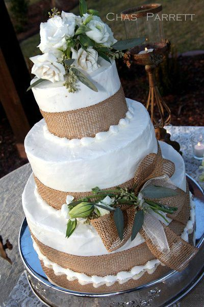 Wedding cake with burlap elements  www.tablescapesbydesign.com https://www.facebook.com/pages/Tablescapes-By-Design/129811416695
