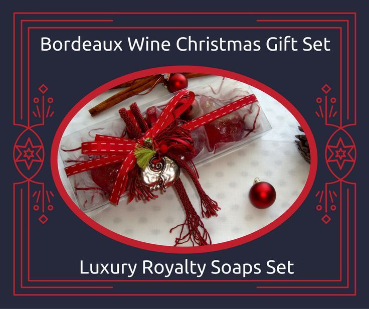 Bordeaux Wine Color Christmas Handmade Gift Set containing three red Christmas figure  Luxury Royalty Scented Soaps and a lovely handmade New Year Charm for Good Luck in the packaging.  Lovely festive scented soaps inspired by Christmas spirit to be provided as a little treat for your holiday guests!  You can also use the handmade Christmas Charm for Good Luck to decorate your Home or your Christmas tree!