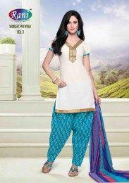 White Color Simple & Elegant Unstitched Cotton Fabric Patiala Suit