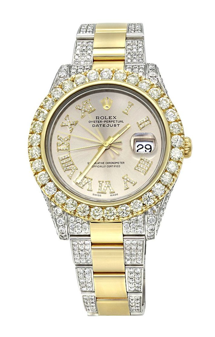 This breathtaking Iced Out Two Tone Rolex Oyster Perpetual Datejust Mens #DiamondWatch is made of solid 18K yellow gold and stainless steel and showcases 15 carats of shining VS quality diamonds masterfully set in a bezel, sides, dial, band and clasp of this beautiful #Rolex watch.