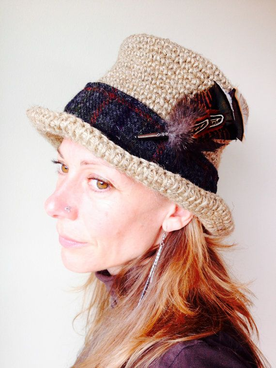 Unisex Top Hat in Crocheted Hemp Yarn with Dark by Sannainspires