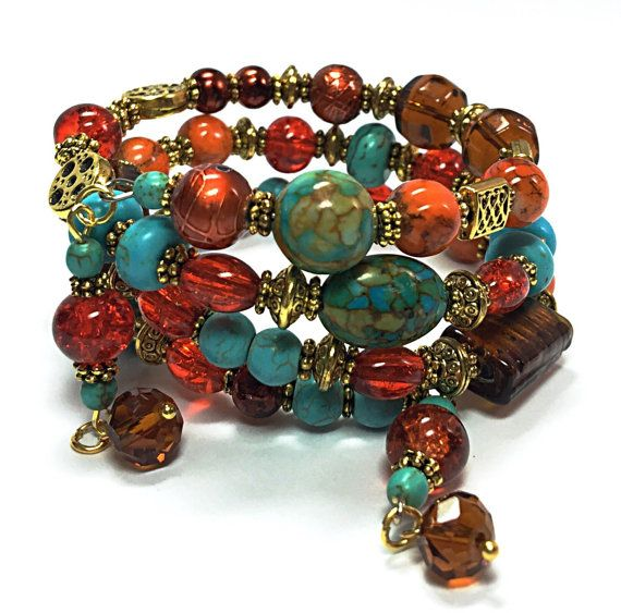 Turquoise & Orange Wrap Bracelet - Beaded Memory Wire Bracelet