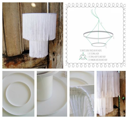 DIY Fringe Chandelier- For what I have in mind, I need embroidery hoops! Now.. where do I get those?