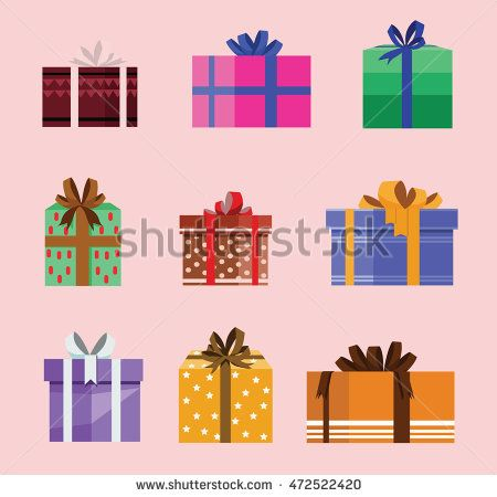 gift box birthday set present with different pattern. vector illustration 103