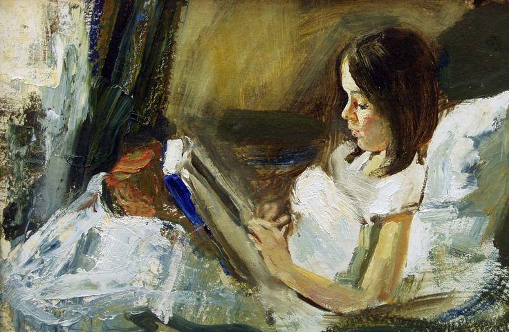 Menina Lendo , s/d, Vladimir Ezhakov ( Rússia, 1975)  óleo sobre tela, 30 x 48 cm     I II CAPÍTULO  Ana Maria Louzada     Antes de enco...