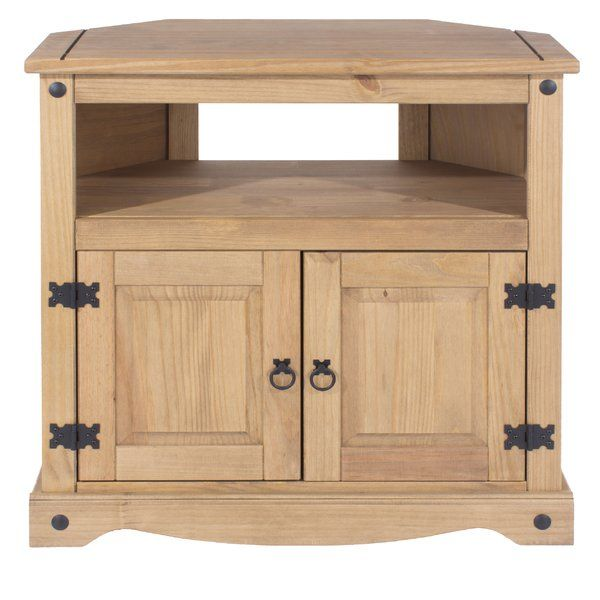 Add a rustic touch to your living room space with this wooden TV Cabinets. Featuring a double cupboard and shelf that's perfect for your DVD player, it's a must-have in any home.