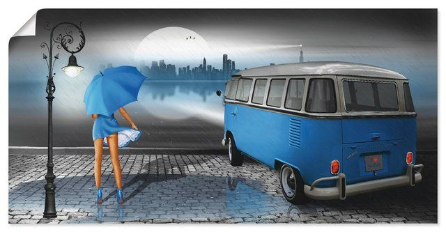 Kunstdruck Poster »Mausopardia: Regennacht in Blau mit Bulli T1«