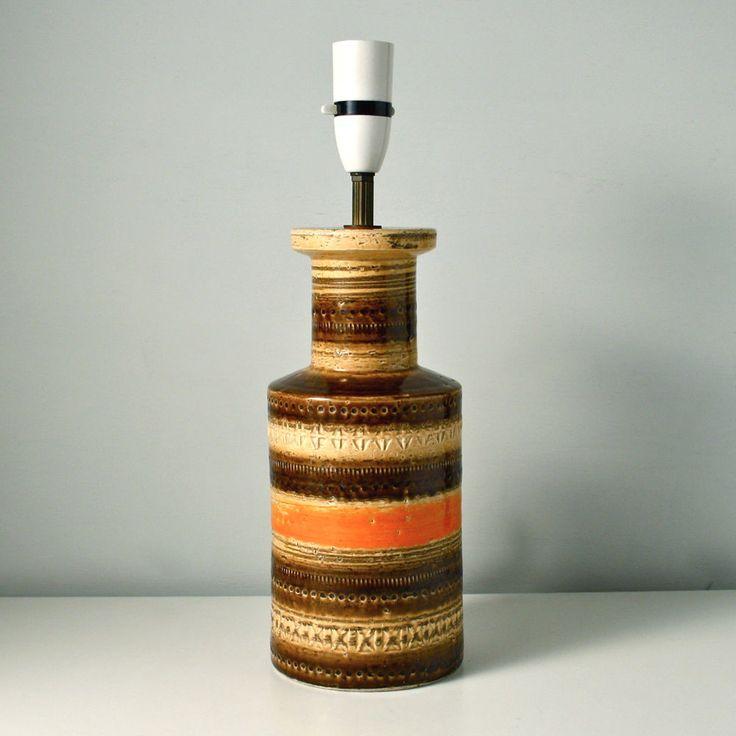 Bitossi ceramic table lamp base. Sahara vintage Italian vase shape art pottery.
