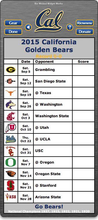 BACK OF WIDGET - Free 2015 California Golden Bears Football Schedule Widget for Mac OS X - Go Bears!  National Champions 1937, 1923, 1922, 1921, 1920 http://riowww.com/teamPages/Cal_Golden_Bears.htm