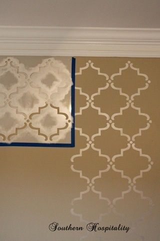 17 best ideas about stenciled accent walls on pinterest - Wall painting stencils for living room ...
