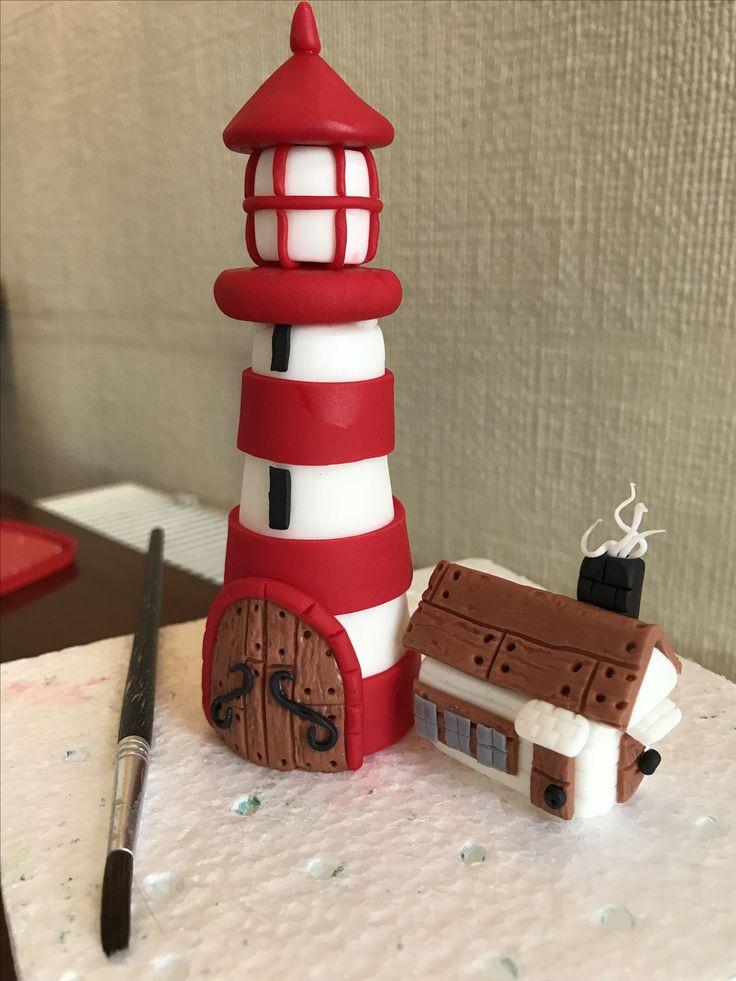 Fondant lighthouse cake topper