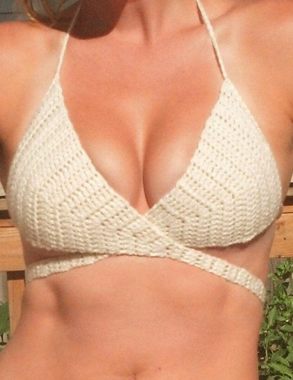For inspiration wrap a round bikini top OFF WHITE fits up to by CowgirlBlingByShea, $25.00 crochet, wrap around bikini, top, festival top, halter top, hippie top, gypsy, boho, cowgirl bling by shea, handmade