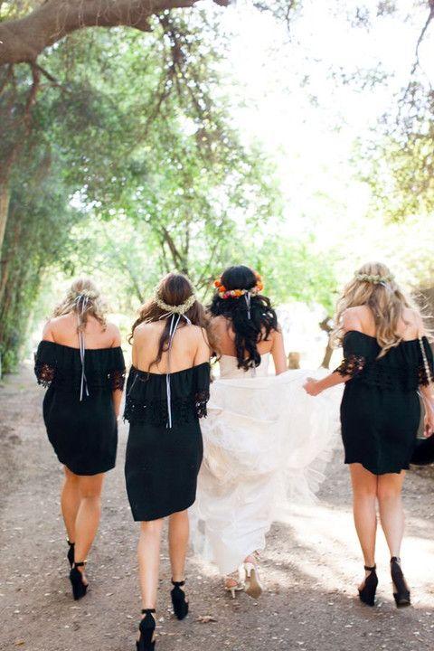 boho wedding ideas - black boho lace bridesmaid dresses