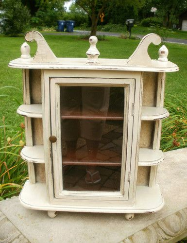 Shabby Vintage Country French Wall Curio Cabinet | eBay
