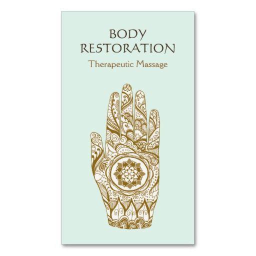 Massage Therapist Logo Henna Lotus Tattoo Hand 2 Business Card Template