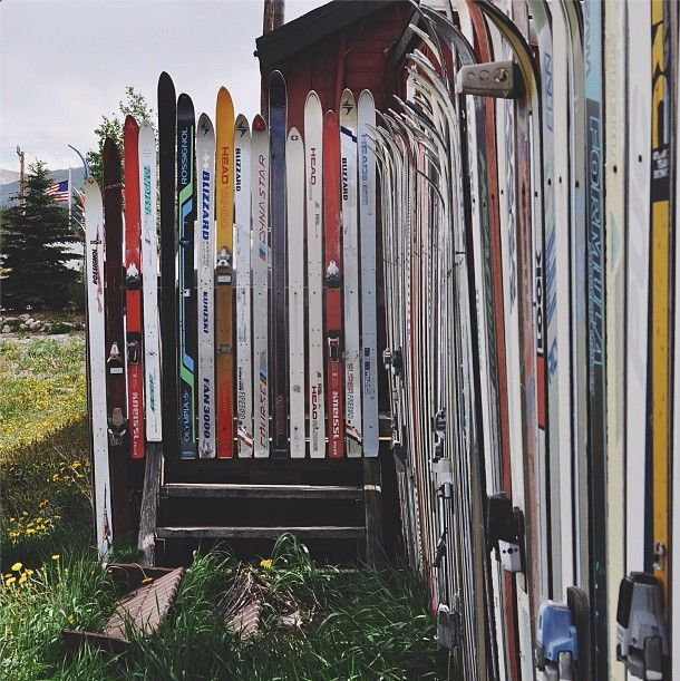 A fence of skis! #EDStreetStyle
