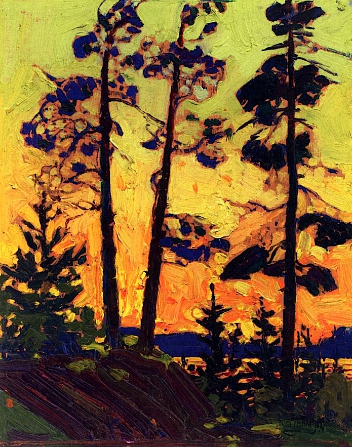Tom Thomson, Pine Trees at Sunset, 1915