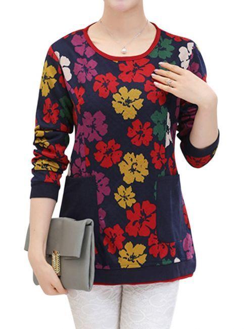 Elegant Charming Women Floral Long Sleeve Sweatshirt