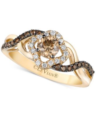 Le Vian Chocolatier® Diamond Twist Shank Ring (5/8 ct. t.w.) in 14k Gold