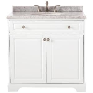 Home Decorators Collection Highclere 36 in. W x 22 in. D Vanity in White with Carrera Marble Vanity Top in White with White Basin-9554100410 - The Home Depot