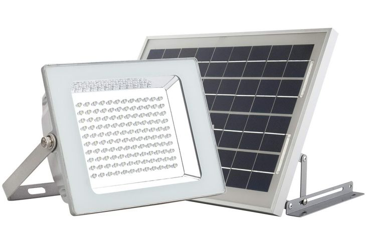 MicroSolar - HEAVY DUTY LIGHT FIXTURE - Lithium Battery - 120 LED IP65 Solar Flood Light --- Automatically Working from Dusk to Dawn at Good Sunshine // Wall / Ground Mounted // FL4-B