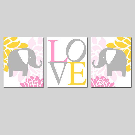 Modern Elephant Giraffe Love Trio - Set of Three 8x10 Nursery Prints - Choose Your Colors - Shown in PInk, Yellow, Gray, and More