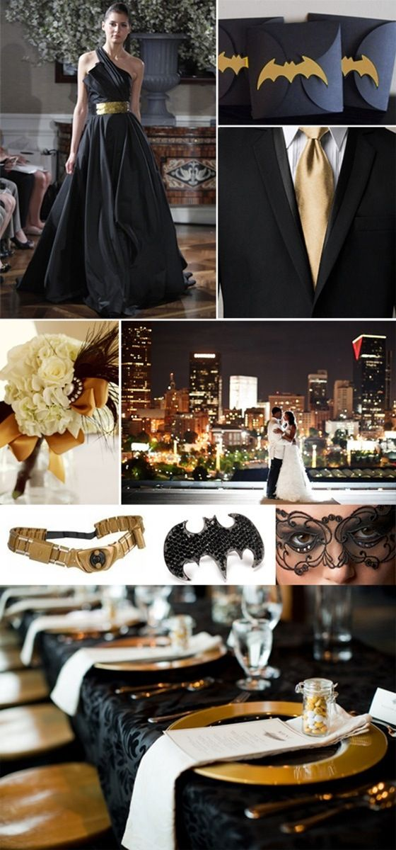 Nerdy Batman wedding, with a classy twist!! Gotta love that look of kiss ass and class!
