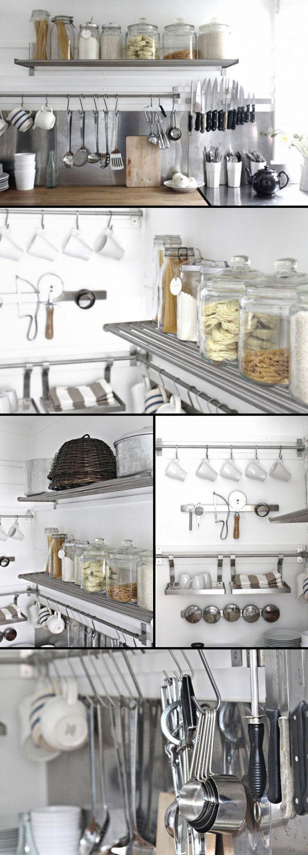 Ikea kitchen shelves stainless steel - Beach Cottage Kitchen Organization Part I Kitchen Shelvesikea