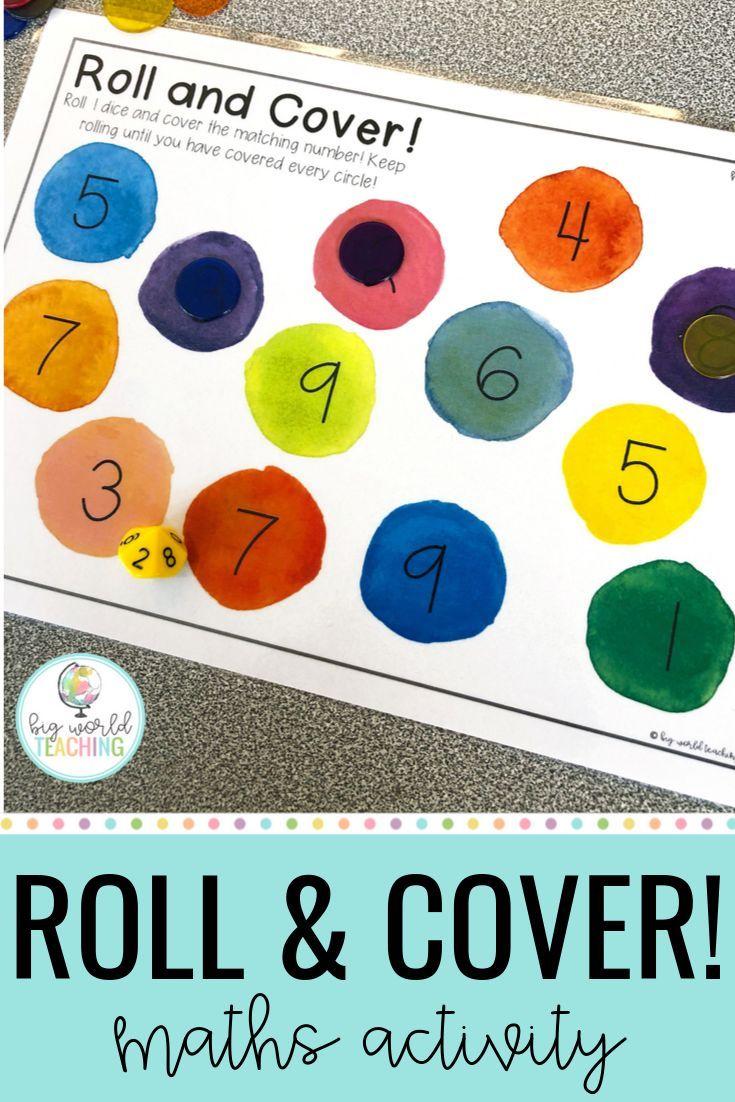 Number Sense Game Roll Cover Maths Kindergarten Math Games