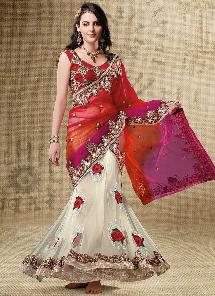 Attract compliments galore clad in this cream and shaded dark orange and magenta lehenga style saree@ http://www.shadesandyou.com/product-category/lehngas/   #DressLehenga #BridalLehengaCholi #LehengaStyleSaree #FloorLengthGowns #LehengaSarees